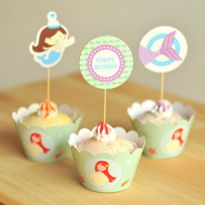 Mermaid Party Cupcake Toppers and Cupcake Wrappers Set