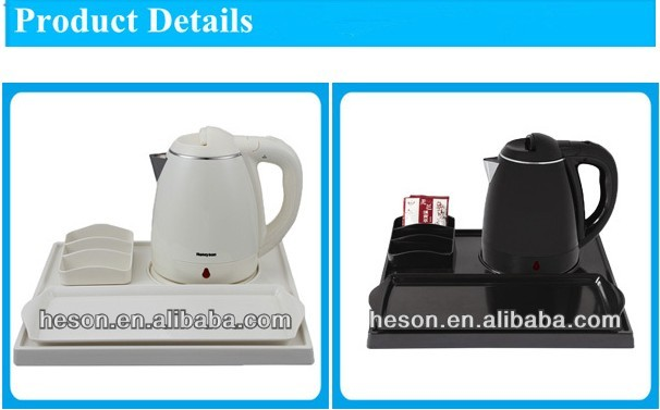 hotel equipment serivce plastic shell electric water kettle with tray set for hotel room supplies