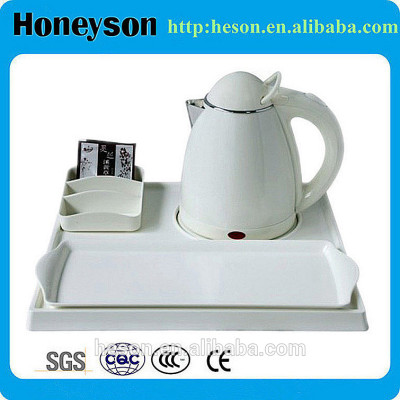 stainless steel hotel supplies/hotel kettle tray set plastic/electric kettle with tray set,plastic electric kettle set