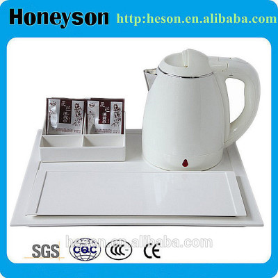 hotel kettle/hotel guest room product double shell 1.2L electric kettle with welcome tray set/pink electric kettle,fast electric