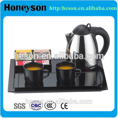 Hotel hospitality electric stainless steel kettle with tray set
