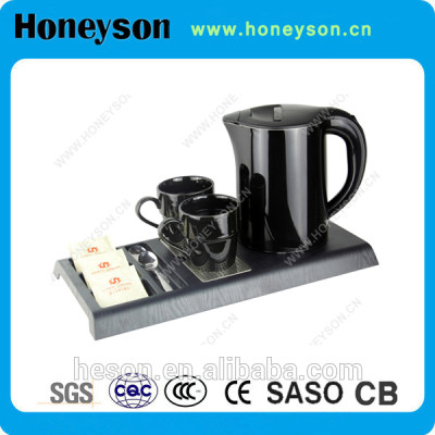 1.2L Hotel electric kettle(double-shell) with tray set melamine tray sets