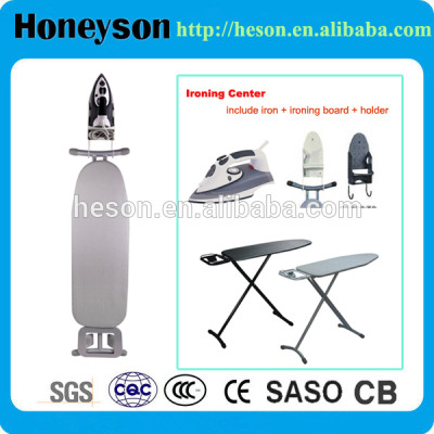 Hotel appliance ironing board set with iron and holder