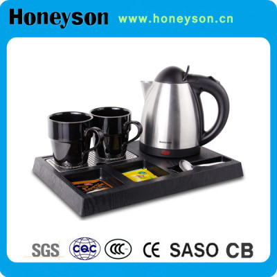 Stainless steel electric kettle with tray set for hotel use