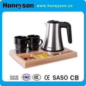 0.8L Stainless steel electric kettle with wooden tray set for 5 stars hotel use