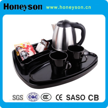 1.2L Stainless steel electric kettle with melamine tray set hotel supplier
