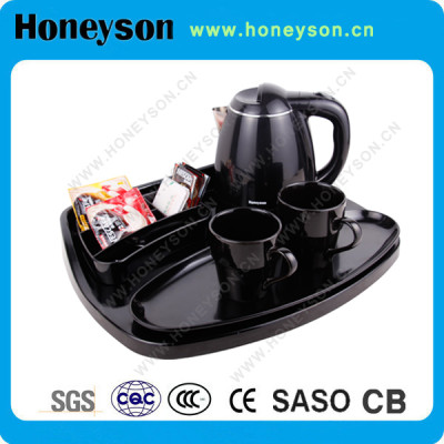 Hotel 1.2L electric kettle welcome tray set kettle with tray set