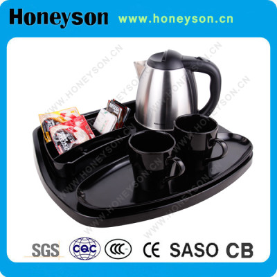 Honeyson stainless steel electric kettle welcome tray set for hotel supply