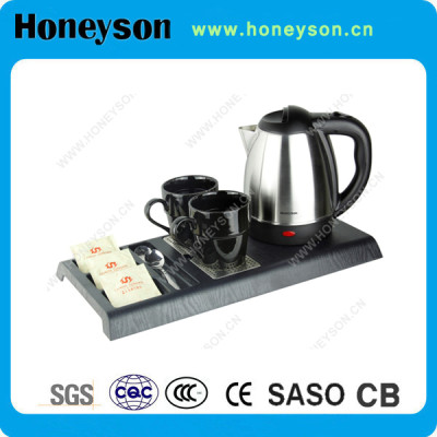 Honeyson #304 stainless steel electric kettle welcome tray set for hotel supply