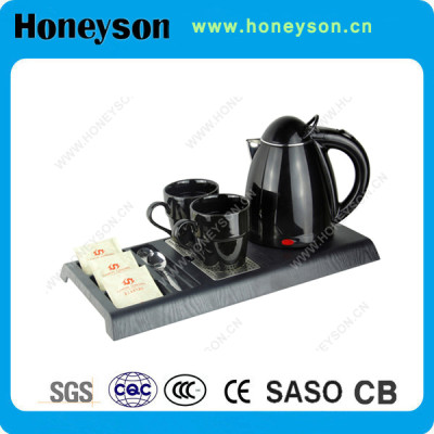 Hotel small double jacketed cordless kettle with welcome tray