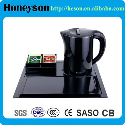 Black double wall electric kettle with hotel melamine welcome tray