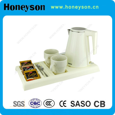 Honeyson hotel high end cordless electric kettle with tray set