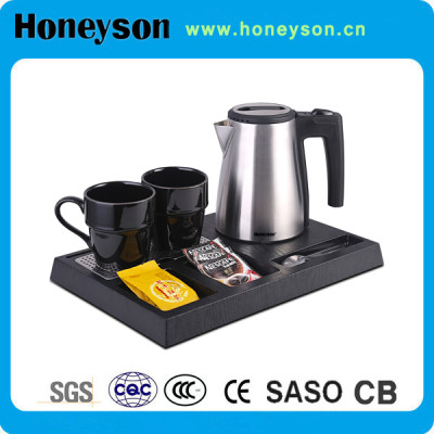Honeyson hotel welcome tray with 0.6L electric brushed steel kettle