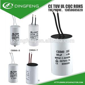 Cbb60 motor de arranque de alambre 106 condensador de tántalo 450 v