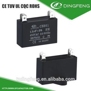 Cbb61 1.5 uf 450 v condensador de ca ventilador