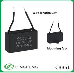 Condensador del ventilador cbb61 2 uf ac motorreductor 25/70/21 sh condensador mpp