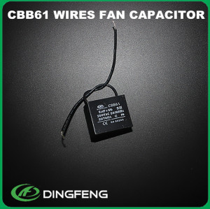 Condensador del ventilador condensador cbb61 condensador 450 v 1mf pins y alambre de plomo