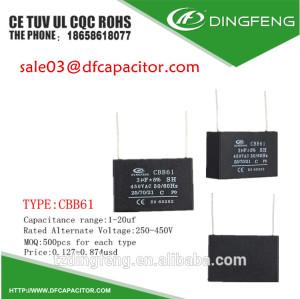 Iluminación condensador cbb61 450vac 370vac condensador cbb61 condensador carcasa
