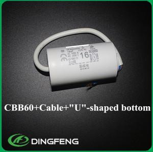 Sh condensador 16 uf condensador de resina de color amarillo y 450vac cbb60 condensador cbb60