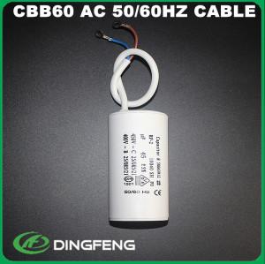 Condensador condensador 250vac carcasa de plástico 20 cm cable blanco mfd
