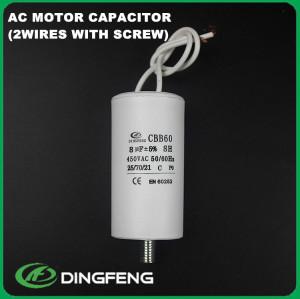 Cbb60 condensador 14 uf 400 v 2 cables tipos de tornillos de condensador