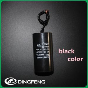 Negro o blanco concha condensador cbb60 condensador de arranque 250vac