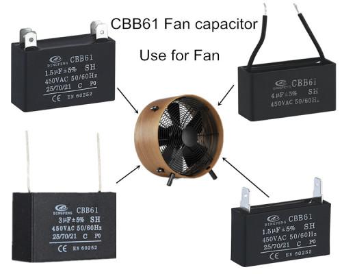 Cbb61 condensador del ventilador negro shell condensadores de película 2.5 uf 400 v