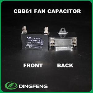 Cbb61 condensador del ventilador 2 uf 400 v hacer con mejor película 5 uf condensador