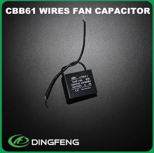 Condensador cbb61 3 uf 10 cm cables condensador de arranque del motor del ventilador