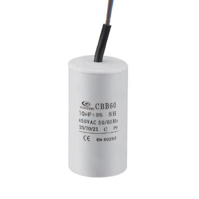 Condensador cbb60 50 / 60hz 25/85/21 para motor eléctrico con cable de plástico