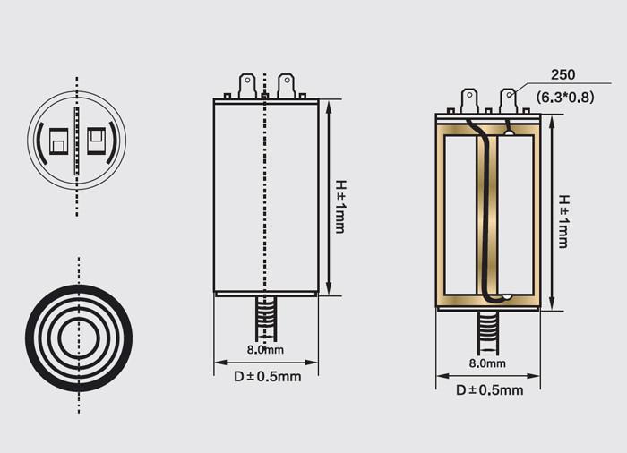 محرك AC يعمل مكثف أربعة دبابيس مع تشريح المسمار