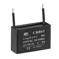 cbb61 Condensador de película 1.5uf 400 v condensador ventilador condensador precio 2 cables 50/60 hz 25/70/21