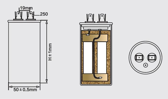 Condensador cbb65 para anatomía del acondicionador de aire.