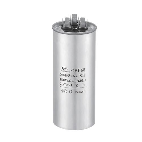 Condensador de aire acondicionado de microfarad AC condensador de poliéster metalizado de 25uf cbb65