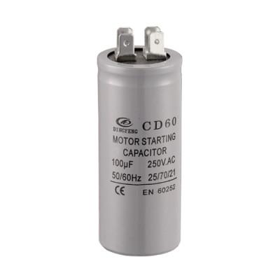 Condensador de arranque del motor de 250v 100uf cd60 con 4 terminales de pernos lowes condensador electrolítico de aluminio