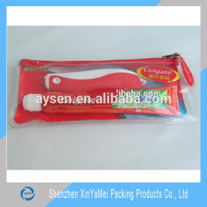 Mesh PVC bag for tooth paste and toothbrush