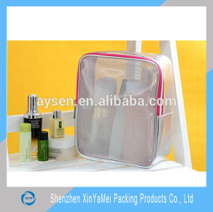 silver PVC mesh Material and Bag Type mesh cosmetic bag