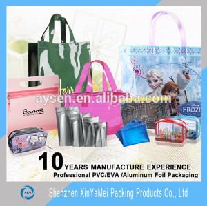 clear transparent pvc bag with zipper and handle