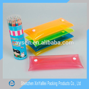 2016 new design wholesales custom pvc pencil bag with button