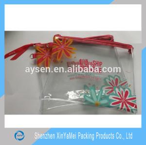 soft PVC foil pencil case with red zipper