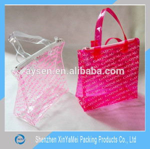 Custom printed shopping bag clear pvc bags large pvc tote bags