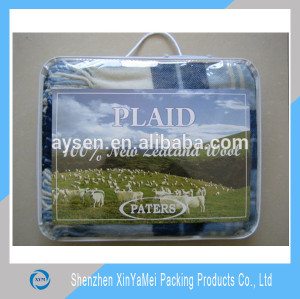 clear pvc plastic button curtain packaging bag with hook