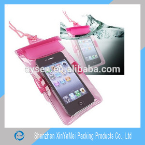 Clear plastic waterproof cell phone bag