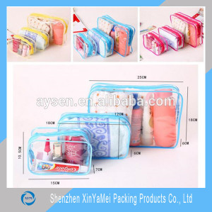 custom clear cosmetic recyclable transparent heat seal side make up plastic pvc zipper bag
