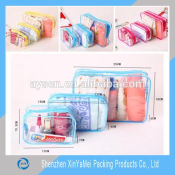カスタムクリア化粧品リサイクル可能な透明熱シール側がプラスチックのpvcジッパーバッグ