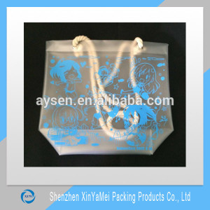 hot sale famous shiny pvc handled shopping tote bag