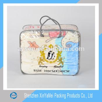 強い0.14mmpvcプラスチック製のクッション付ロープハンドル付きバッグ安い価格