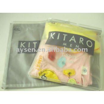 Plástico pvc packaging bolsas para la ropa con cremallera