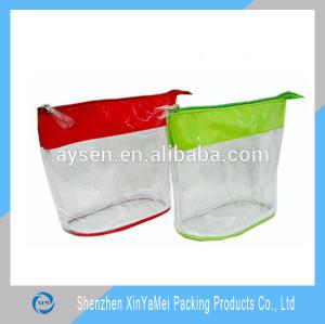 Fashion slider cosmetic thick plastic clear pvc bag