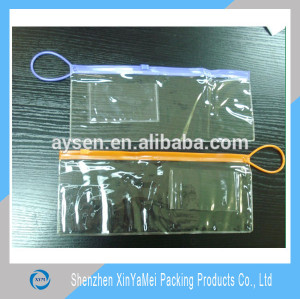 large transparent plastic zipper bag with small card holder for promotion
